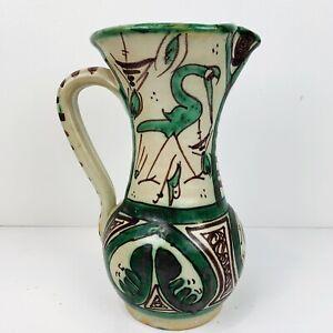 "Vintage Domingo Punter Pottery Pitcher Spain Ceramic Mid-Century Signed 9.5"""