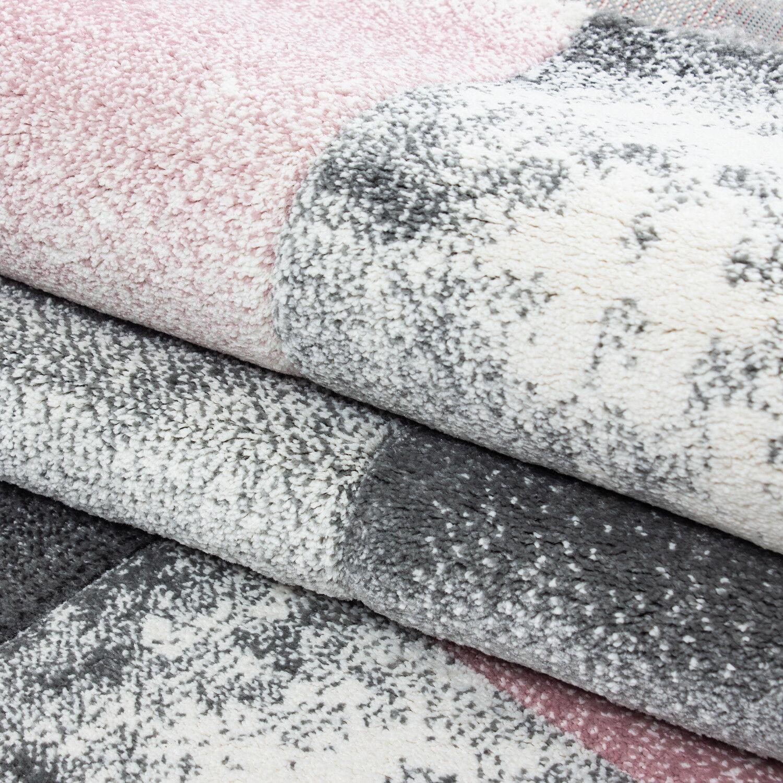 Designer Teppich Kurzflor Kurzflor Kurzflor Konturenschnitt Karo Muster Schwarz Grau Rosa Meliert 5cd19d