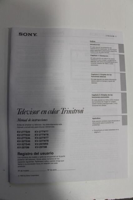 Sony trinitron kv-20s90 manuals.