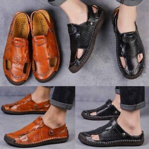 Men-039-s-Outdoor-Closed-Toe-Leather-Sandals-Casual-Round-Toe-Slippers-Brown-Black