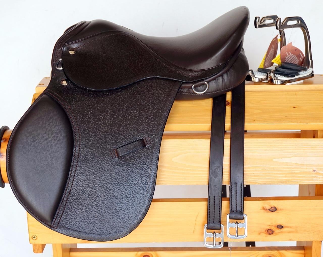 12  13  Marrón Mini Pony Inglés Silla Caza Salto Cualquier Uso + Leathers 36