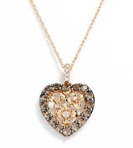 $1600 LeVian 14k Rose Gold, Diamond & SmokedQuartz Pendant Necklace 18 (70%OFF)
