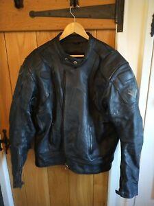 FRANK-THOMAS-Black-Leather-Motorcycle-Jacket-Size-UK-46-EUR-56-NEEDS-NEW-ZIP