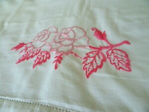 Pink-White Flowers and Bows in Pots Embroidery Tablecloth Pillowcase Gray
