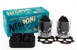 Gothic Negroni Cocktail Set - Skull Ice Cubes / Whiskey Glasses / Skull Coasters