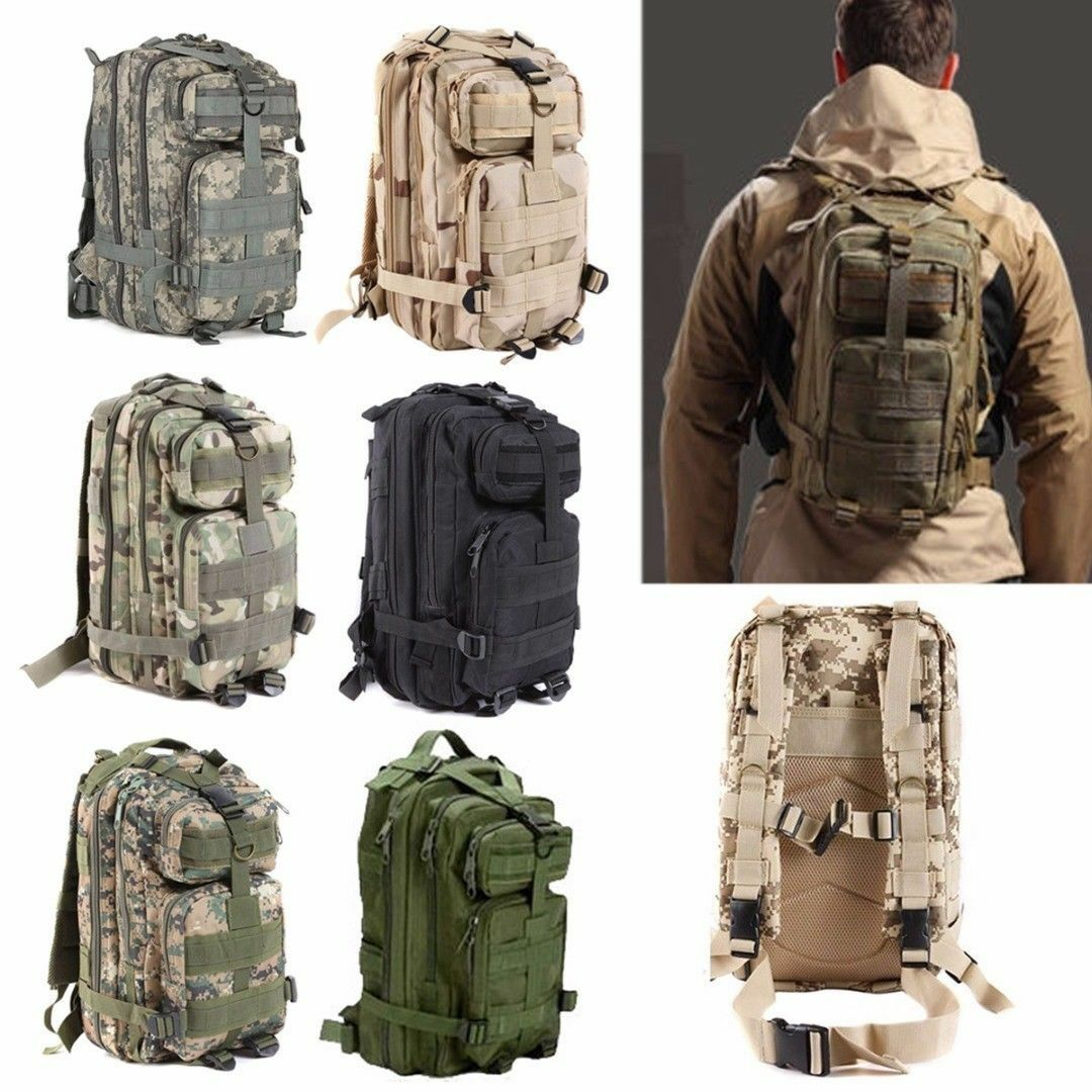 Military Tactical Backpack Hiking Trekking Camping Travel Bag Rucksack... - s l1600
