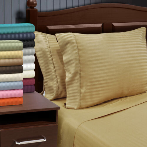 14 Colors Striped Pillowcases Wrinkle Free Microfiber 2-Piece Set Covers