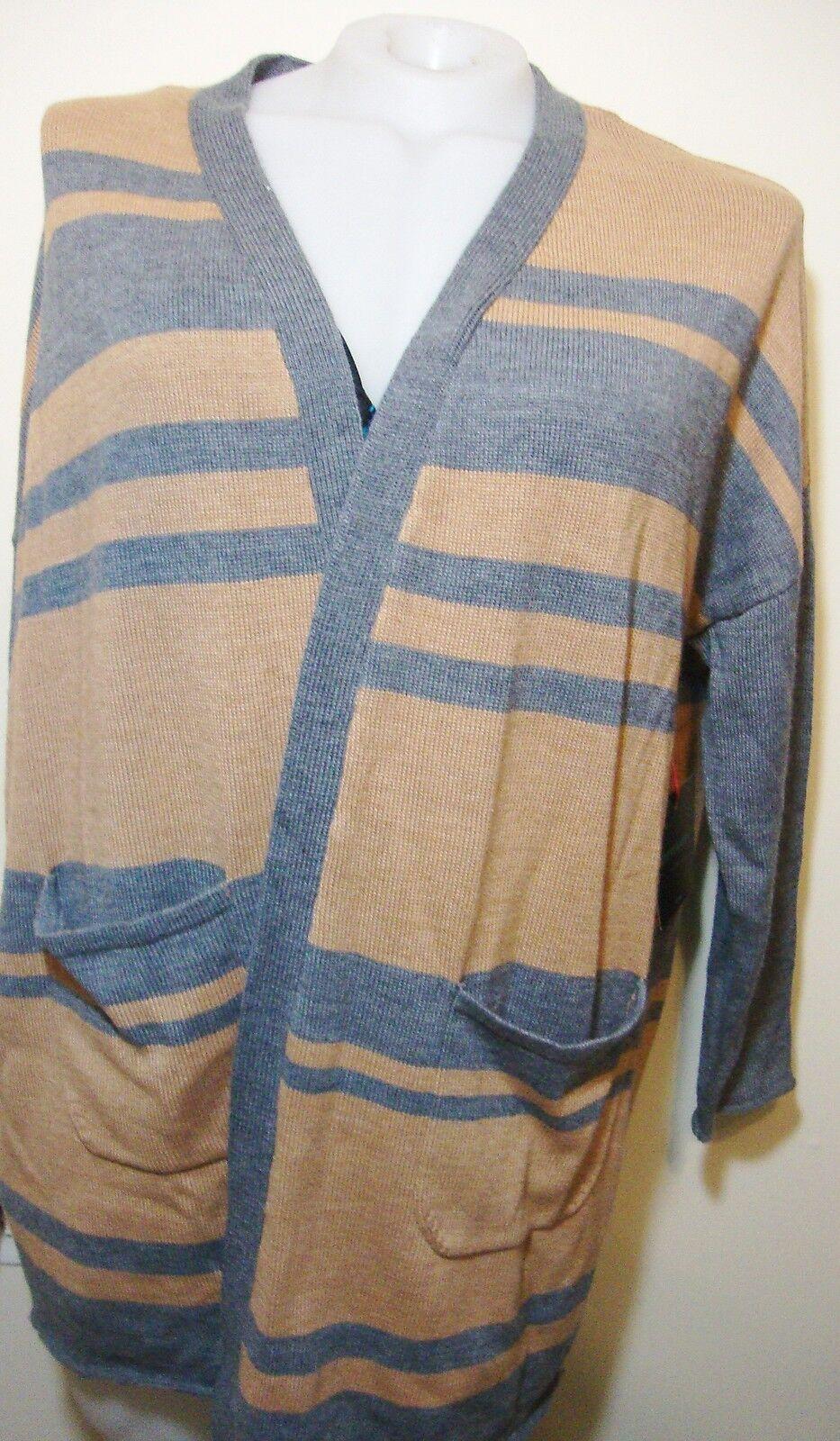 Cynthia Rowley Striped Merino Wool Cardigan Sweater Womens Plus 2X