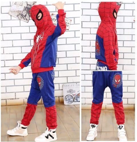2pcs Kids Baby Boys Long Sleeve Hooded Tops+Pants Spider-Man Cartoon Clothes Set