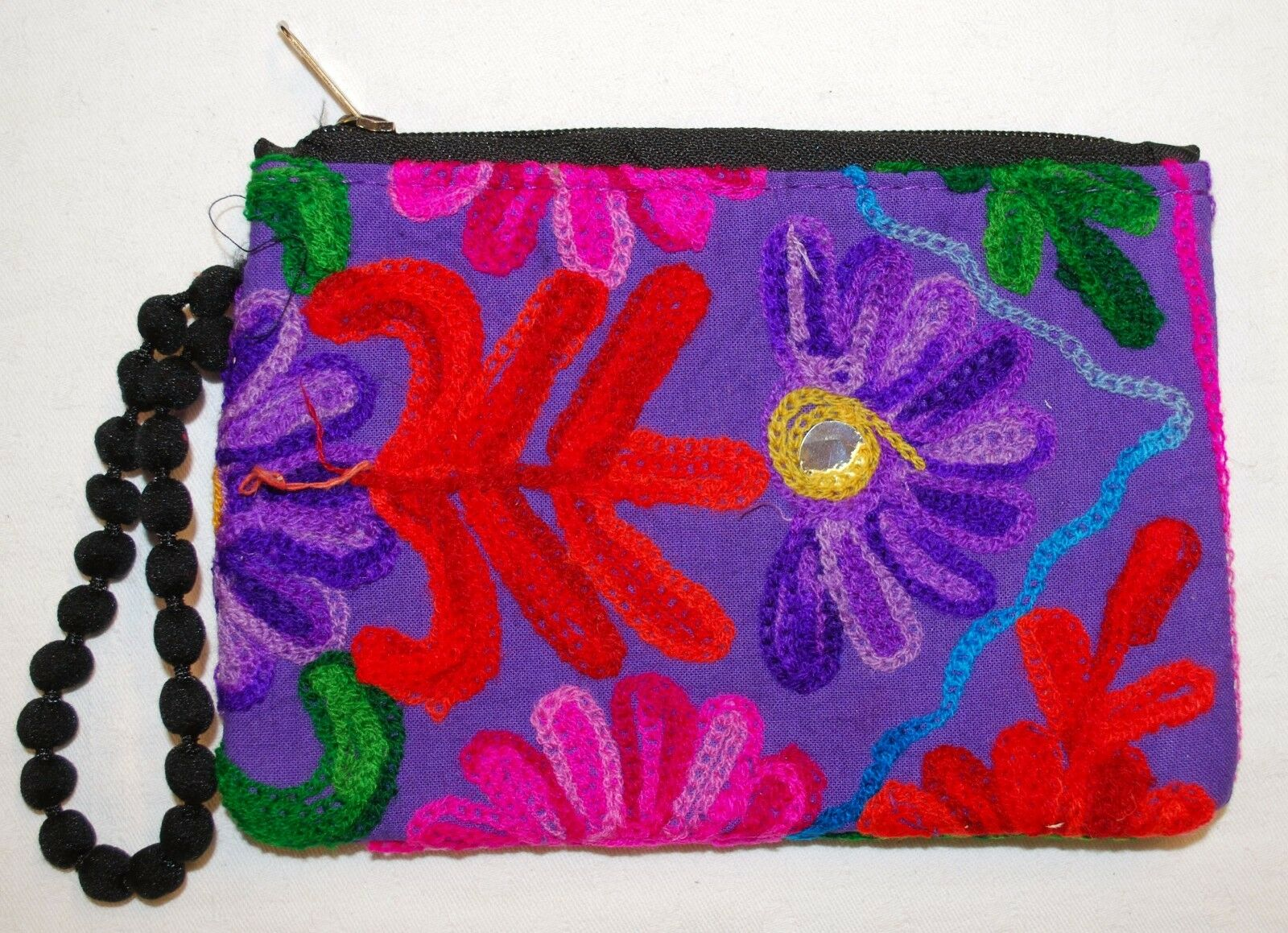 New Large Woven Cotton Purse Pouch Fair Trade Hippy Ethnic Nepal Ethical Flower