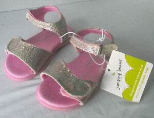 Sandals-Size-6-Toddler-Girl-Pink-Silver-Metallic-Jumping-Beans-Adjustable-NEW