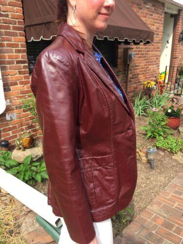 bourgogne Sz en vintage cuir 12 Wilson's Blazer dames Genune zqEwPxzY