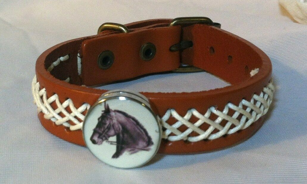 HORSE SNAP &  LEATHER twine stitch BRACELET 18-20MM BAY w WHITE STAR    BUBBLES    the lowest price
