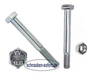 DIN 931 Sechskantschrauben 8.8 verzinkt M8 x 140 mm 10 St/ück
