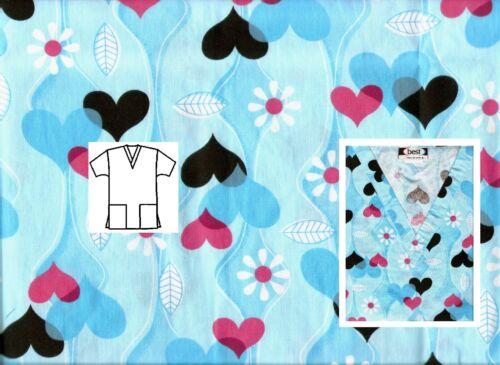 NEW Scrubs   ~   V Neck Print Scrub Top   ~   XL   ~   All My Love Blue