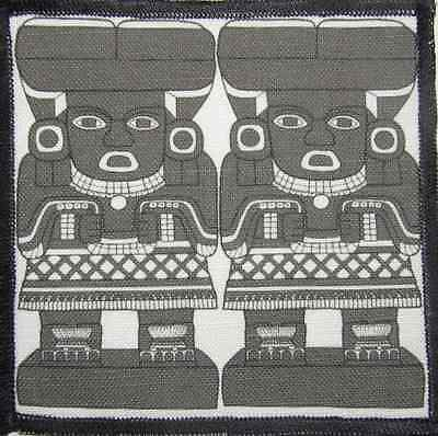 CHALCHIUTLICUE Printed Patch-Sew On Jacket Backpack Aztec Stone Carvings