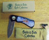 Knife North American Hunting Club Bucks And Bulls Lock Blade With Felt Bag