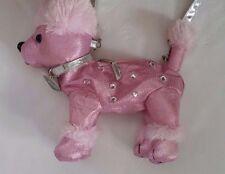 Hot Pink Poodle Stuffed Animal Dog Purse Bag Fuzzy Satin Jeweled Soft Plush