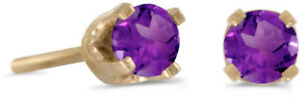 14k-Yellow-Gold-Round-Natural-Amethyst-Stud-Earrings
