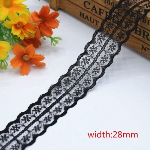 """10 Yd /""""/"""" 1.4-7.5 cm/"""" /""""belle dentelle noire ruban brodé robe accessoires environ 9.14 m"""