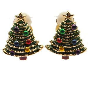 Vintage-Holiday-Gold-Tone-Enamel-Christmas-Tree-Costume-Clip-On-Earrings