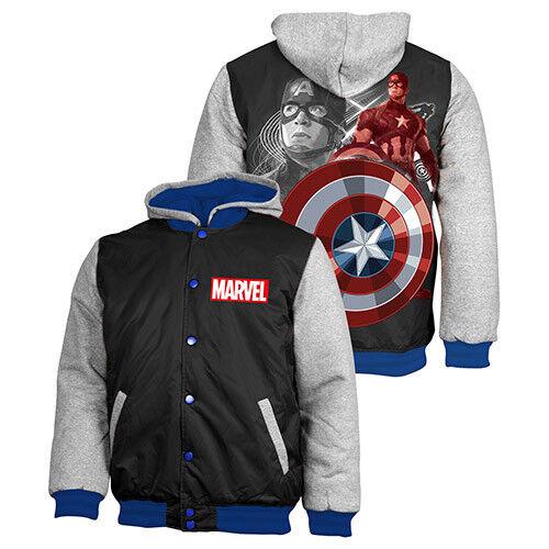 MARVEL Captain America Bomber Jacket Jumper Coat Hoodie Embroiderot Quilt lined