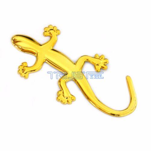2 Pcs Car 3D Decal Sticker Badge Emblem Golden Gecko Lizard For Bumper Window us