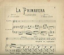 Spartito La Primavera Canzone di Mario Pasquale Costa per Canto e Piano 1883