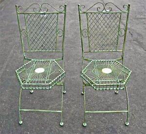 2 Folding Chair Garden Patio Set Hexagon Seat Antique Green - Iron