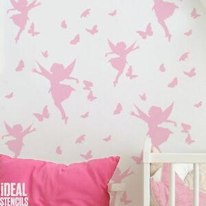 Image Is Loading Fairy Amp Erflies Nursery Wallpaper Stencil Paint Walls