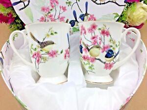 2-x-Fine-Bone-China-Blue-Wren-Bird-280ml-Mug-Set-In-Heart-Shape-Gift-Coffee-Tea