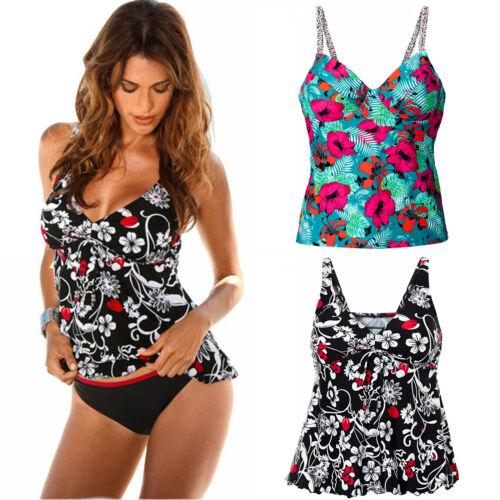 Damen Tankini Bikini Set Push Up Gepolsterter Badeanzug Bademode Schwimmanzug