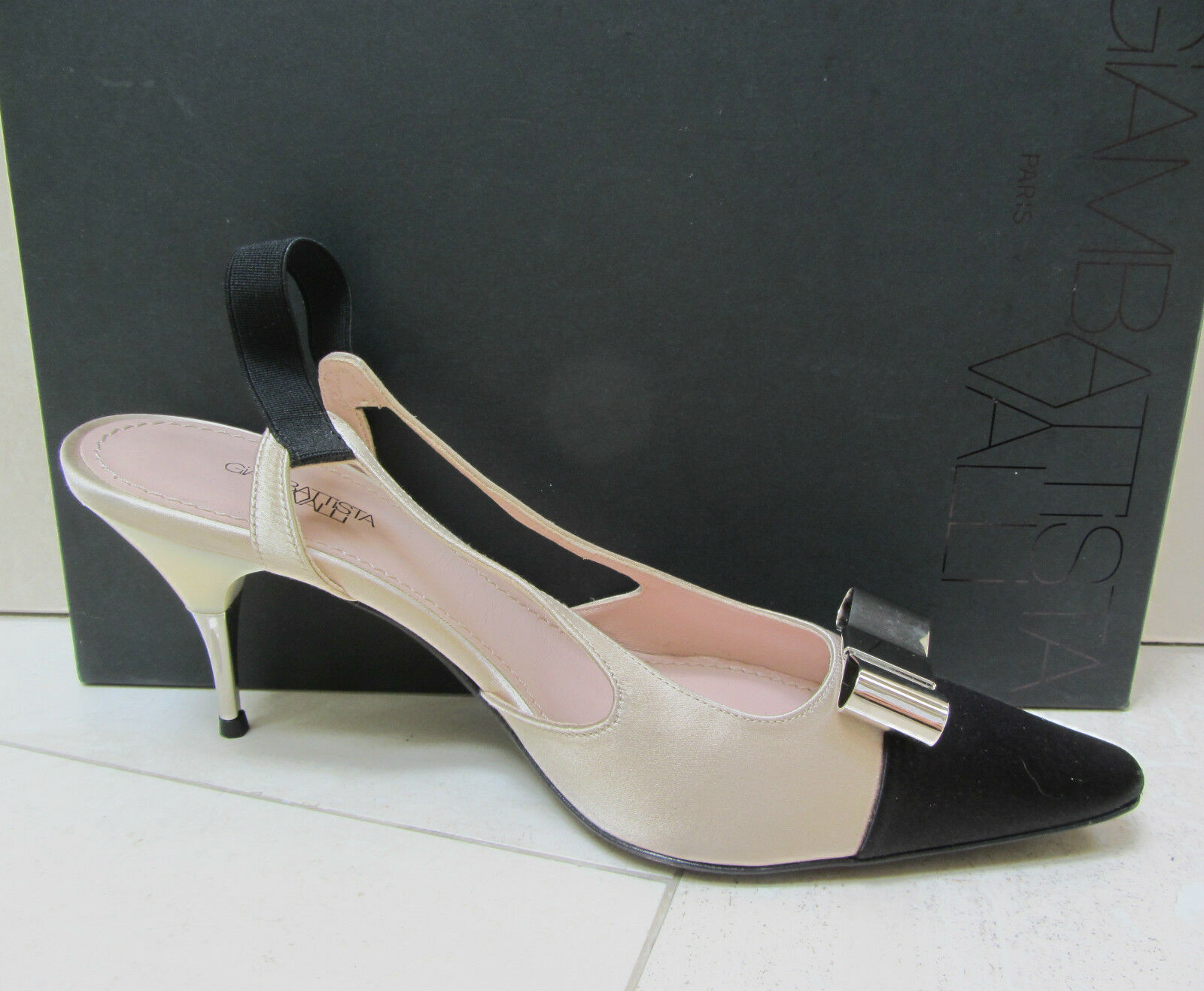 NIB GIAMBATTISTA VALLI PARIS Satin BOW Elastic Slingback Sandals Pump shoes 39.5