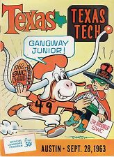 1963 Longhorns v Red Raiders Program 9/28/63 Ex/MT Chase Texas Champs Ex 32258