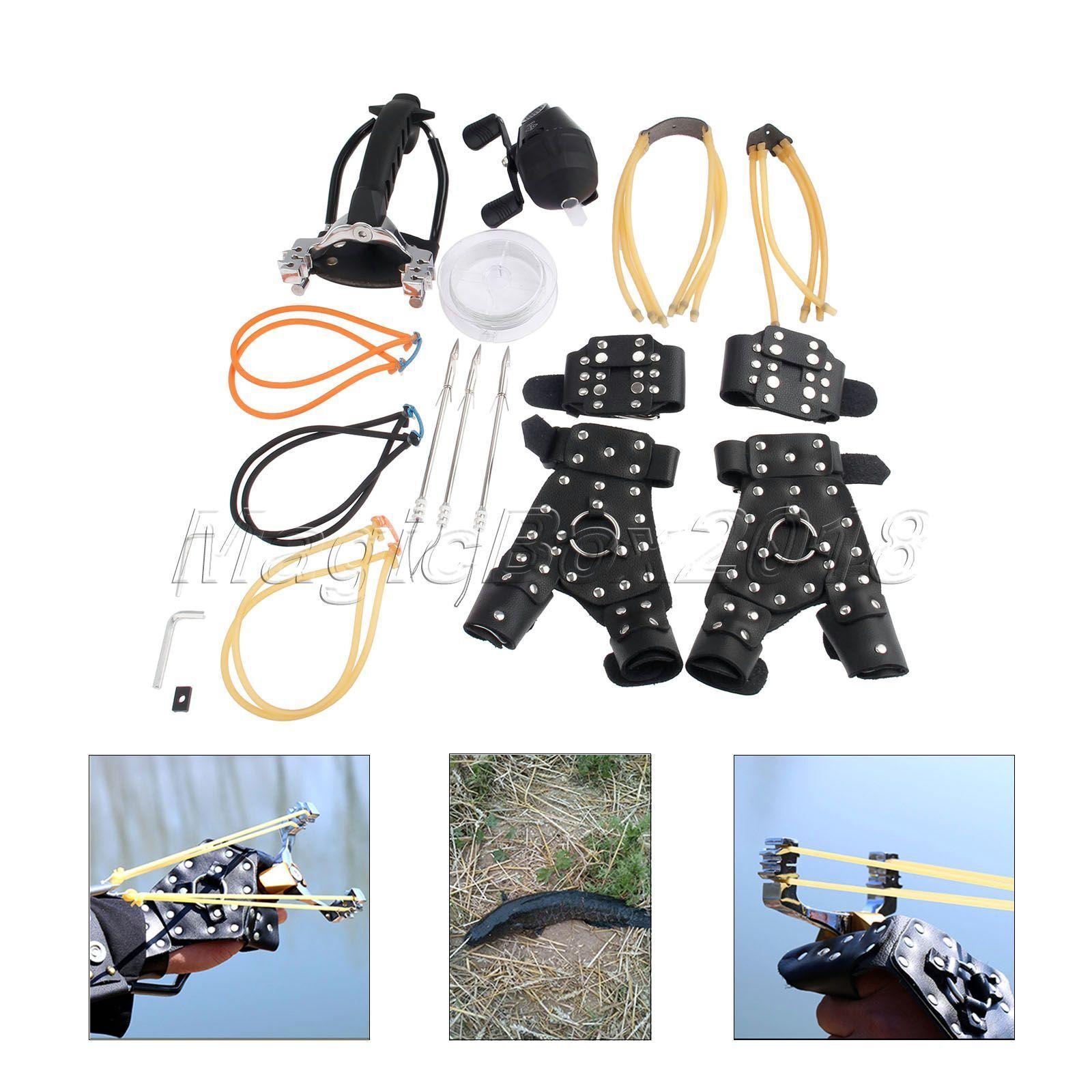Hunting Recurve Slingshot Fishing Reel Bow Catapult Broadheads Hand Guard Kit