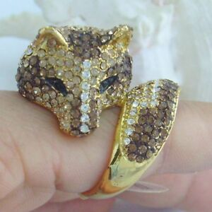 5583a16c2 Image is loading Unique-Animal-Cocktail-Fox-Ring-Yellow-Austrian-Crystal-