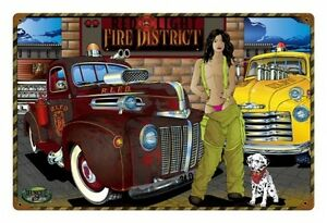 muscle car hot rod fire district feuerwehr pin up retro sign