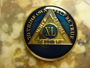 AA Black Gold 46 Year Coin Tri-Plate Alcoholics Anonymous Medallion Sober Chip
