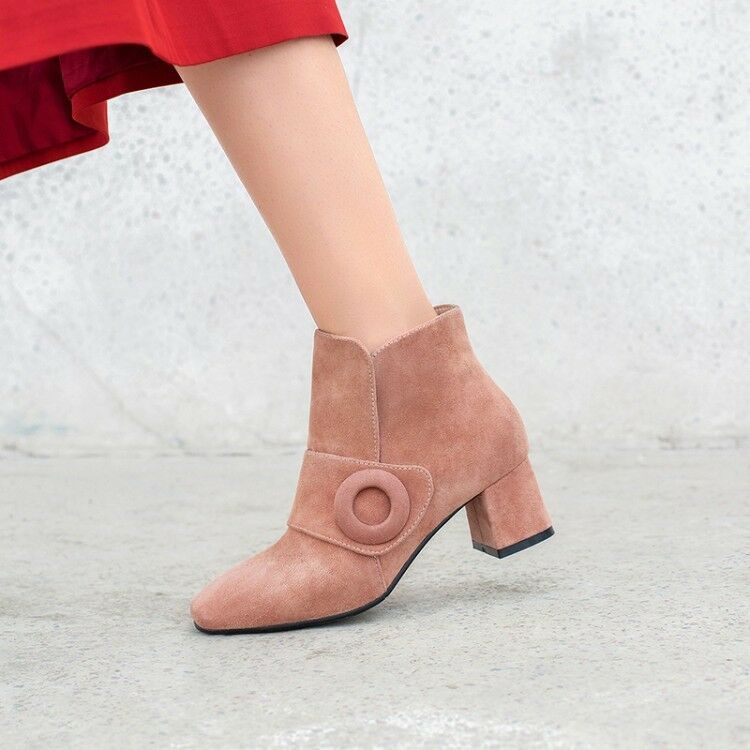 Womens Vogue Suede Leather Buckle Strap Pull On Mid Heel Ankle Boots shoes Y150