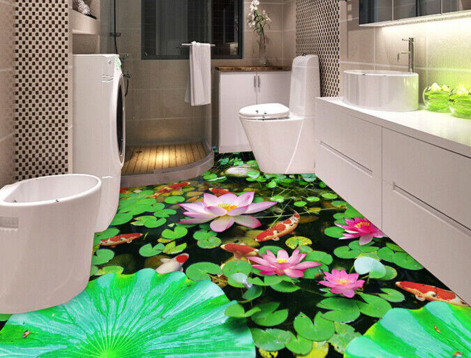 3D Fish Lotus Lake 4 Floor WallPaper Murals Wall Print Decal AJ WALLPAPER Summer