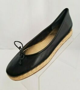 Juicy-Couture-Ballet-Espadrille-Flats-Womens-Black-Leather-Shoes-Italy-Size-9-5M