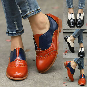 Ladies-Womens-Low-Heel-Leather-Slip-On-Oxfords-Loafers-Pumps-Casual-Walk-Shoes