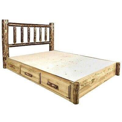 Log Platform Storage Bed With Drawers Queen Size Amish