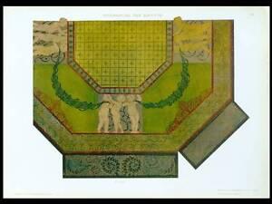 ART-NOUVEAU-CEILING-DECORATION-1910-GOLDEN-LITHOGRAPH-GUIDI-PUTTI