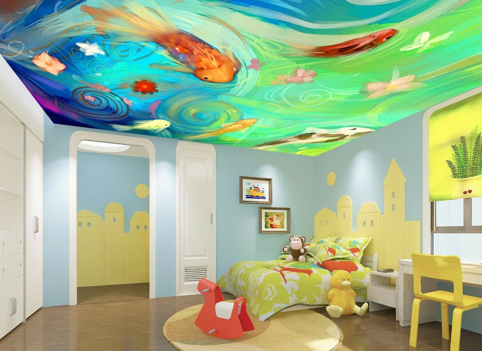 3D Colour Carp Ceiling WallPaper Murals Wall Print Decal Deco AJ WALLPAPER AU