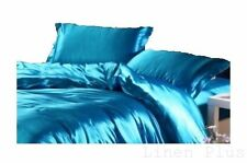 7 PC Turquoise Satin Silky Bed Skirt + Sheet Set Queen Size Flat Fitted Pillows