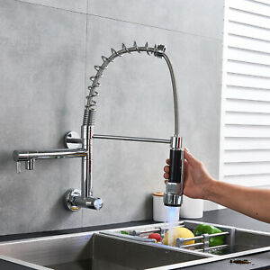 Details about Commercial Wall Mount Kitchen Sink Faucet Chrome Single  Handle Pull Down Swivel