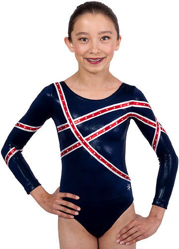 NEW   Adult Small Navy Linear Gymnastics Comp Leotard by Snowflake Designs