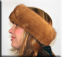 Whiskey Mink Fur Headband 24 Inches Long 4 Inches Wide - Efurs4less