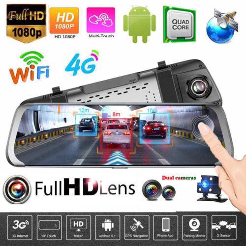 """JUNSUN 10/"""" Dual Lens 1080P 4G WIFI Android5.1 Car DVR Camera ADAS GPS DashCam"""